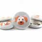 Preview: Button Hund grau/lachs 25mm