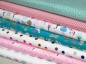 Preview: Jersey Stoff mint bunte Motive Glitzer