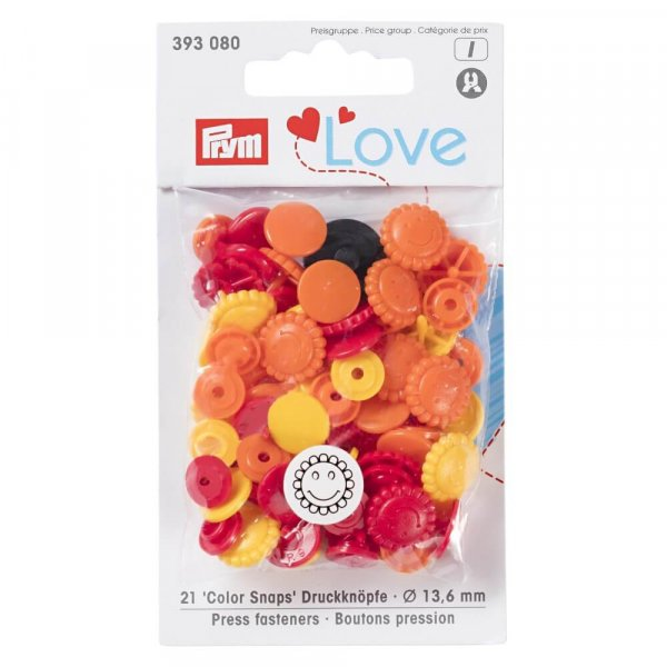 Color Snaps Druckknöpfe Mix Blumen Rot Orange Gelb | PRYM LOVE