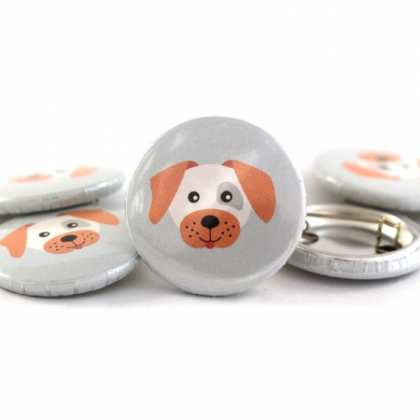 Button Hund grau/lachs 25mm