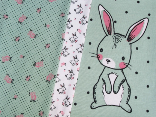 Jersey Stoff Panel Hase mint