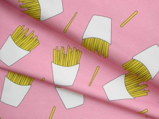 Jersey Stoff Sweet Pommes Fries pink
