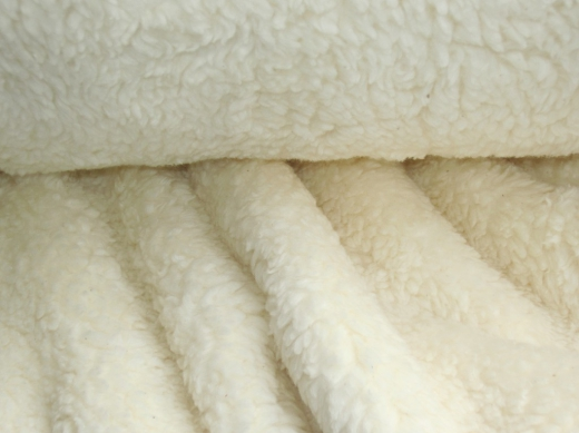 Teddy Fell Fleece Stoff Natur Creme Weiß