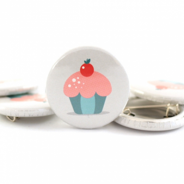 Button Muffin mint/rosa 25mm