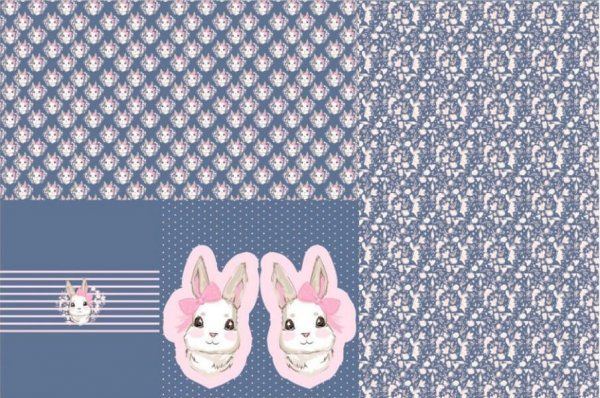 Jersey Stoffpanel Hase in Jeansblau/Rosa - 100x150cm