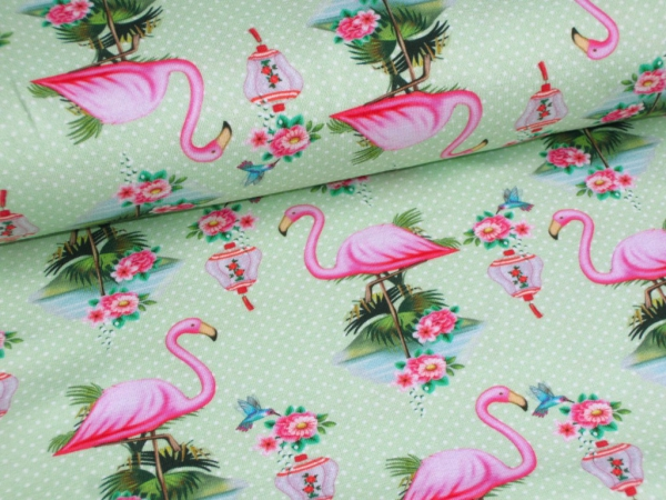 Jersey Stoff Flamingo mint