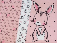 Jersey Stoff Panel Hase rosa